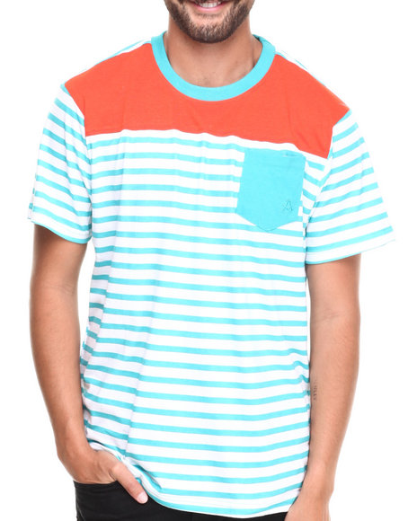 Akademiks - Men Teal Stingray Striped Crew Neck Tee W/ Solid Pocket