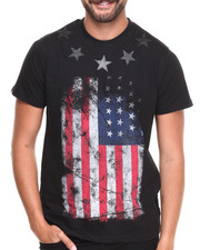 Men - Faux Leather Stars American Flag S/S Tee