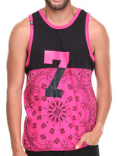 Men - Colorblock Bandana Print Tank Top