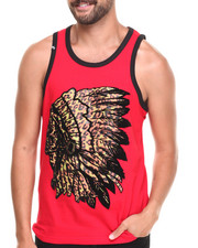 Men - Leopard Print Indian Chief Graphic Tank