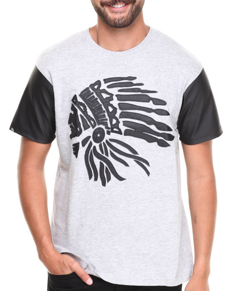 Buyers Picks - Men Grey Perforated Faux Leather Sleeve Chiefs Head Tee