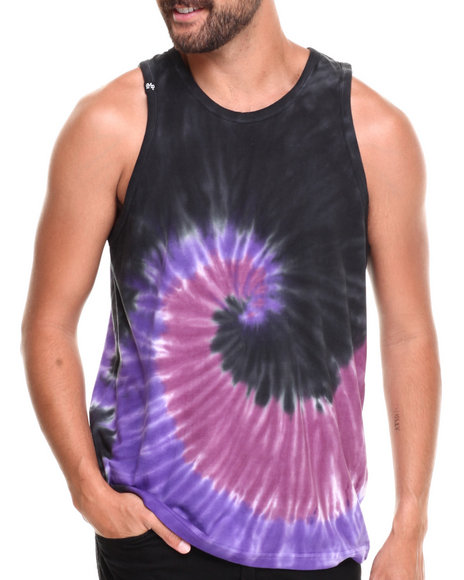 Buyers Picks - Men Purple Multi Tie Dye Tank Top