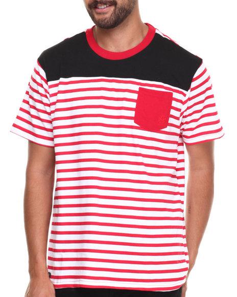 Akademiks - Men Red Stingray Striped Crew Neck Tee W/ Solid Pocket