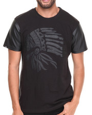 Men - Perforated Faux Leather sleeve Chiefs Head Tee