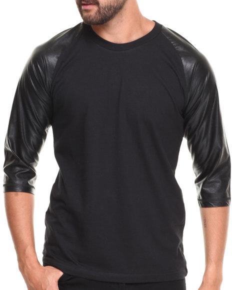Buyers Picks - Men Black Raglan 3/4 Sleeve Pu Tee