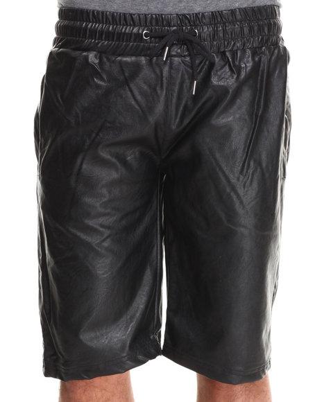 Buyers Picks - Men Black Faux Leather Jogger Shorts - $17.99