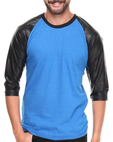 Buyers Picks - Men Blue Raglan 3/4 Sleeve Pu Tee