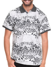 Men - Leopard Animal Print Pique Polo Shirt