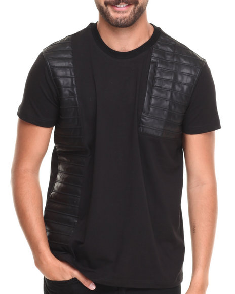 Forte' - Men Black Spider P U - Paneled S/S Tee