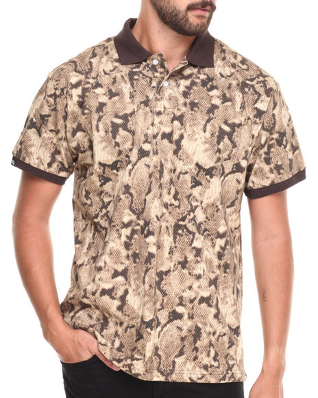 Buyers Picks - Men Animal Print Snake Animal Print Pique Polo Shirt