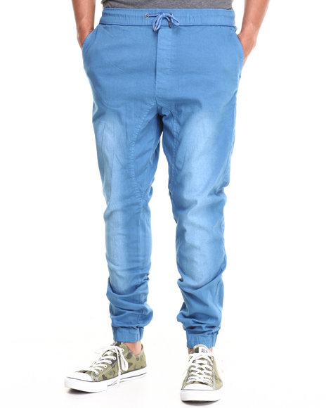 Buyers Picks - Men Blue Twill Jogger Pant (Elastic Trim & Draw String)