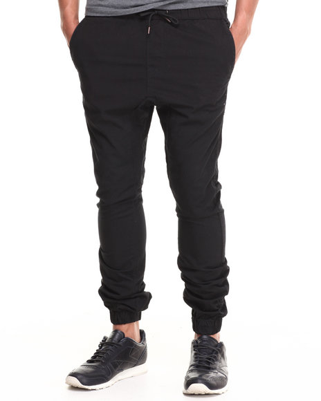 Buyers Picks - Men Black Cotton Twill Jogger Pant (Elastic Cuff Detail)