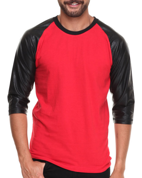 Buyers Picks - Men Red Raglan 3/4 Sleeve Pu Tee