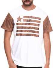 Men - Faux Leather trim Flagz S/S Tee