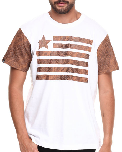 Buyers Picks - Men White Faux Leather Trim Flagz S/S Tee