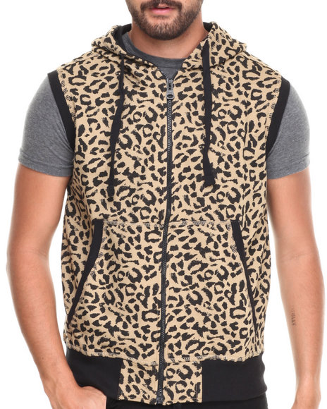Buyers Picks - Men Khaki Leopard Print Full Zip Hoody Vest