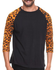 Men - 3/4 Sleeve Animal Print Raglan Shirt