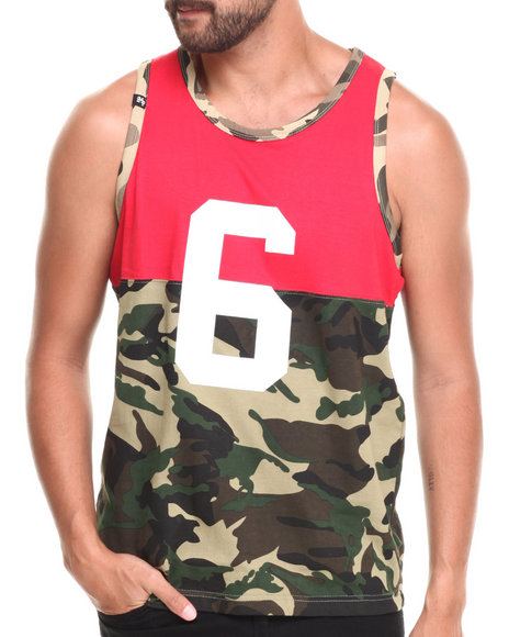 Buyers Picks - Men Red,Camo Colorblock Camo Print Tank Top