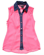 La Galleria - SLEEVELESS CHIFFON TOP W/ CHAMBRAY COLLAR (7-16)