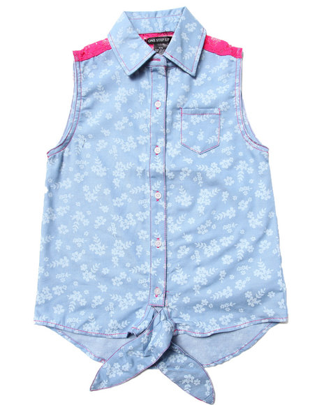 La Galleria Girls Light Wash Printed Chambray Front Tie Top (7-16)