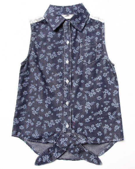 La Galleria Girls Dark Wash Printed Chambray Front Tie Top (7-16)