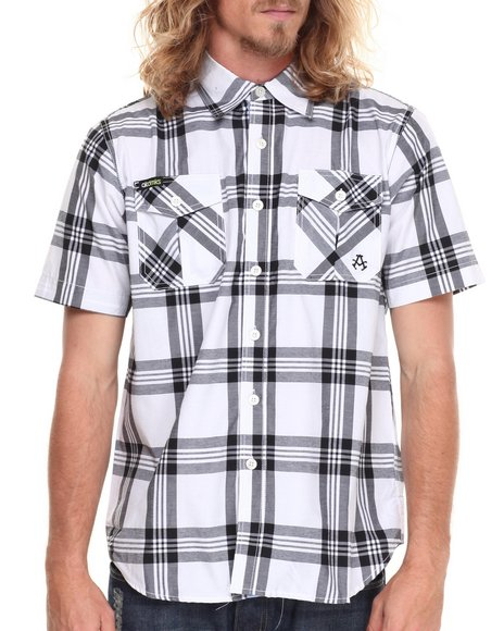 Akademiks - Men Black Tommy Plaid S/S Button Down - $14.99