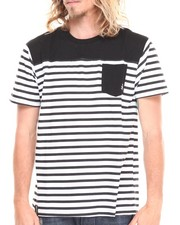 Men - Stingray Striped Crew Neck Tee w/ Solid Pocket