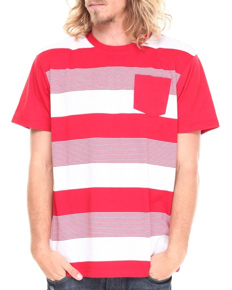 Akademiks - Men Red Freeze Striped Block S/S Tee - $7.99