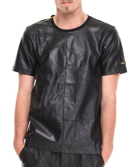 Akademiks - Men Black Espada Vegan Leather Zipper Detail Tee - $38.99