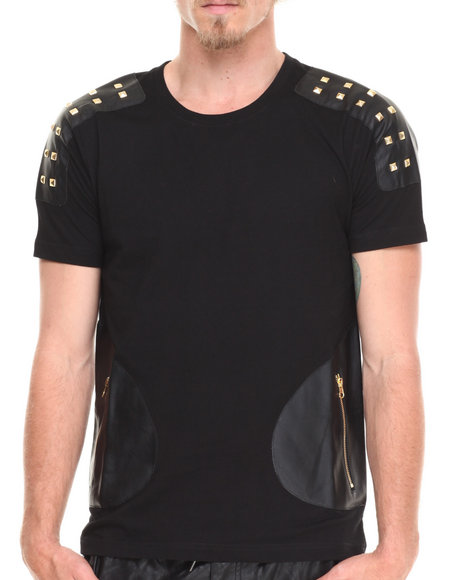 Akademiks Black Europa Pyramid Studded Vegan Leather Shoulders Tee W/ Front Zipper Pockets