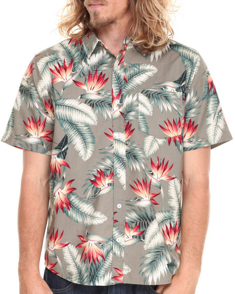 Huf - Men Olive Birds Of Paradise S/S Button-Down
