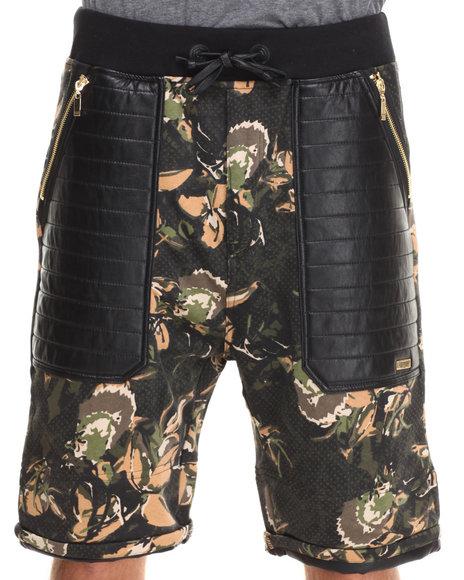 Winchester Camo Camo/Faux Leather Detail Shorts (Gold Zipper Detail)