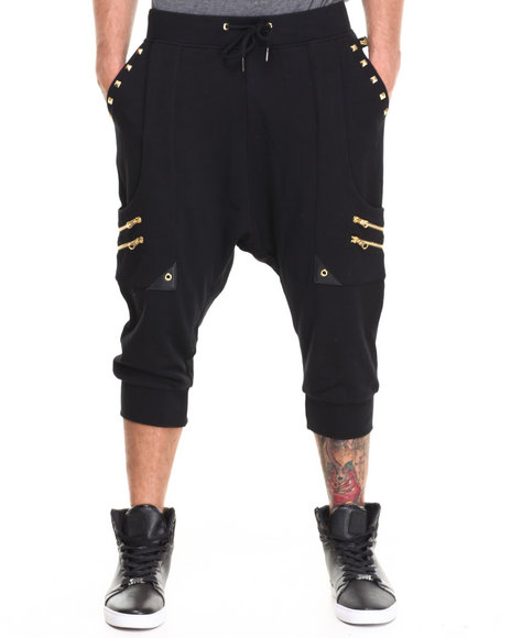 Akademiks Black Fiorano Vegan Leather Trim Harem Pant W/ Zipper & Pyramid Stud Detail