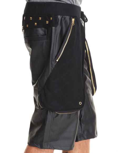 Akademiks - Men Black Aperta Vegan Leather Drop-Crotch Short W/ Zipper & Pyramid Stud Detail - $57.99