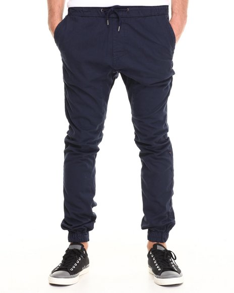 Buyers Picks - Men Navy Cotton Twill Jogger Pant (Elastic Cuff Detail)