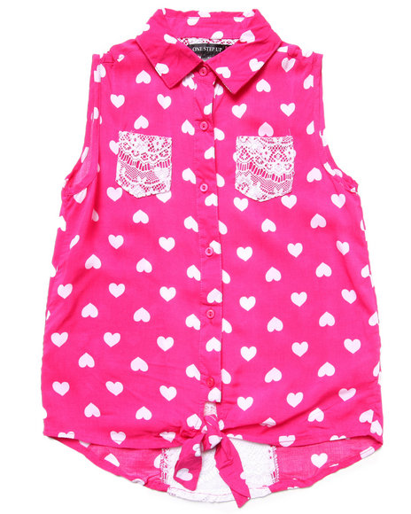 La Galleria Girls Pink Polka Dot Front Tie Top (7-16)