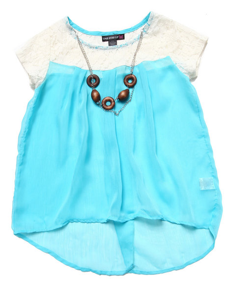 La Galleria Girls Blue Neon Chiffon Hi Low Babydoll Top (7-16)