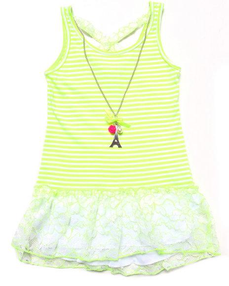 La Galleria - Girls Green Striped Peplum Top W/ Neon Lace (7-16)