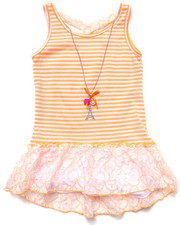 Girls - STRIPED PEPLUM TOP W/ NEON LACE (7-16)