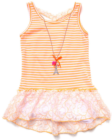 La Galleria - STRIPED PEPLUM TOP W/ NEON LACE (7-16)