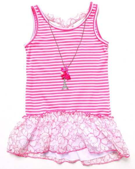 La Galleria - Girls Pink Striped Peplum Top W/ Neon Lace (7-16)