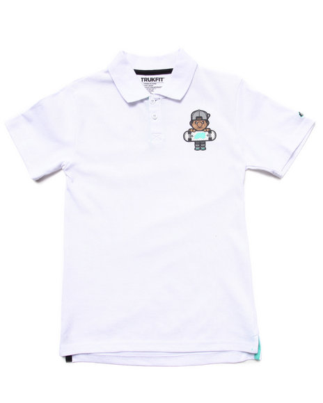 TRUKFIT Boys White Lil' Tommy Polo (8-20)