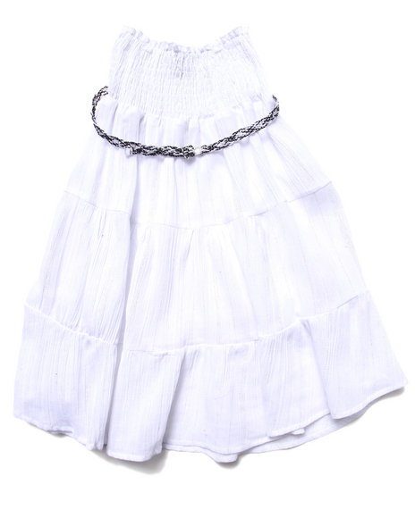 La Galleria Girls White Smock Top Convertible Dress Or Skirt (7-16)
