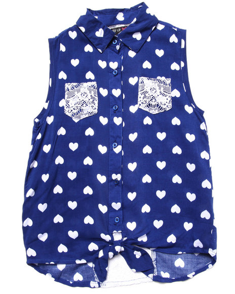 La Galleria Girls Blue Polka Dot Front Tie Top (7-16)