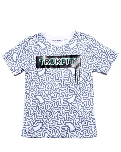 TRUKFIT Boys White Allover Print Logo Tee (8-20)