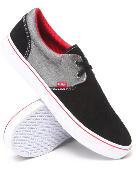 Huf - Men Black Genuine Suede/Cotton Chambray Sneakers