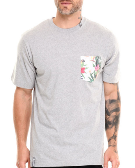 Lrg - Men Grey Hawaiian Safari Pocket S/S Tee