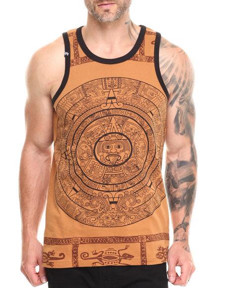 Buyers Picks - Men Tan Large Aztec Print Tank Top