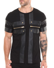 Akademiks - Inter Vegan Leather Chest Panels Tee w/ Grommet & Zipper Detail