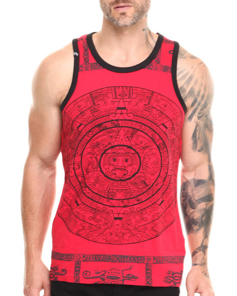 Buyers Picks - Men Red Large Aztec Print Tank Top